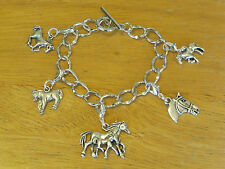 Silver-Tone Horse Lover/Horse Riding/Western/Cowboy Toggle Charm Bracelet 7""