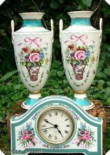 c1993 Minton mantelpiece set Clock & Pair of vases Rose
