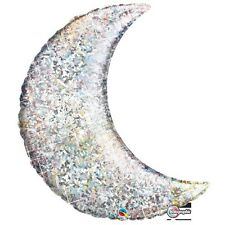 "Qualatex 35"" Crescent Moon Holographic Silver Shape Balloon Fancy Decoration"