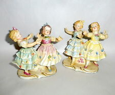 Antique 1900 Victorian Germany Bisque Figurines 4 Singing Dancing Little Girls