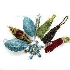 Assorted lot of Large Glittery, Victorian and Tassel Christmas ornaments