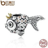 Bamoer European S925 Sterling Silver CZ Charm Crown fish & Clear CZ Fit Bracelet