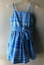 Kate Spade Girl's Blue White Print Party Dress Bow Size 14Y Teen
