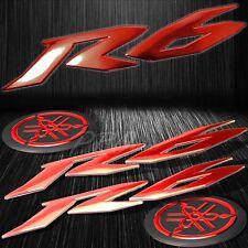 """6"""" ABS 3D Logo Emblem+2"""" Fairing/Fender Badge Sticker for YZF-R6/R6S Chromed Red"""