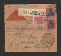 11 Germany Paketkarte / Parcel card 1919 Nachname Berlin Friedenan to Neustadt