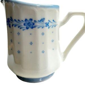 "Sango Renaissance Stoneware Creamer 290 Arcadia Blue Japan 4 1/2"" Tall Vtg 80s"
