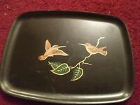 VINTAGE COUROC OF MONTEREY SERVING TRAY PLATTER HUMMINGBIRDS ON A BRANCH