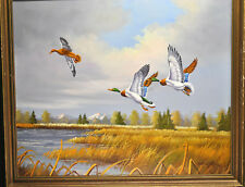 """BEAUTIFUL """"CLAYTON"""" SIGNED OIL PAINTING DUCK HUNTING OIL ON CANVAS 20X24"""""""