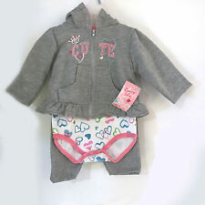Coney Isle Girls One-Piece Long Sleeve Romper, Hooded Sweatshirt & Pants Se 6-9