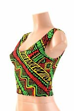 MEDIUM Tribal Rasta Red/Gold/Green Festival Spandex Crop Tank Top Ready To Ship!