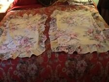 2 Ralph Lauren Yellow Rose King Size Ruffled Pillow Shams Pre Owned