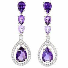 """Victoria Wieck SS AMETHYST 1.5"""" Ombre Gemstone Halo Drop Earrings $184"""