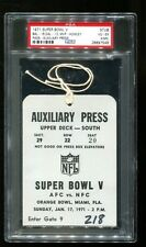 Super Bowl V 5 Press Pass Ticket Colts 16 Cowboys 13 1/17/71 PSA 4 26897548 Rare
