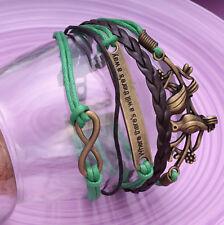 Handmade Infinity Vintage Green Friendship Hope & Peace Charms Leather Bracelet
