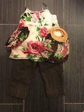 Gap Kids Brown Chino Crops & Rose Floral Top Set S (6-7)