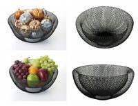 Black Double Wall Mesh Fruit Bowl Dinning Table Decorative Vegetable Basket 24cm