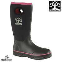 Woodland W395A Ladies Black Pull On Neoprene Wellington Boots Wellies Rainboots