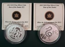 TWO 2013 Canada $10 Year of the Snake 1/2 oz 9999 silver coin with box and COA
