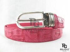 "PELGIO Real Genuine Crocodile Alligator Skin Leather Women's Belt 36"" Long Pink"
