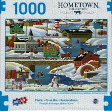 HOMETOWN COLLECTION NEW ENGLAND WINTER HERONIM 1000 PIECE JIGSAW PUZZLE ~ NEW