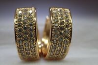18K Yellow Gold GF 32 stones Lab Created diamond 15mm Hoop Huggies Earrings