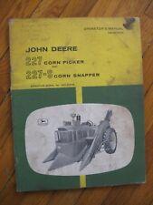 John Deere 227 Corn Picker 227-S Snapper Operator's manual Original