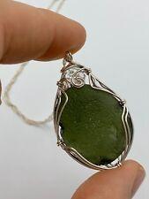 Flawless Moldavite & Herkimer Diamond Sterling Silver Pendant, Powerful combo