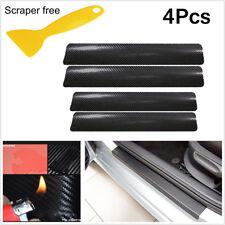 4Pc Black Carbon Fiber Look Car Door Plate Sill Scuff Cover Anti Scratch Sticker
