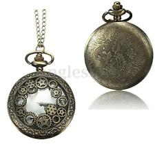 Vintage Steampunk Antique Pocket Watch Necklace Quartz  Pendant Chain Gift US*