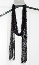 ALLUSIONS BLACK OPEN WEAVE SCARF WITH CRYSTAL TASSELS