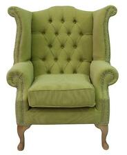 Chesterfield Queen Anne High Back Fireside Wing Chair Verity Lime Green Fabric