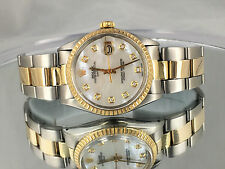 MEN'S Rolex Oyster Date 18K Gold Stainless Steel White Mop Diamond Dial Watch