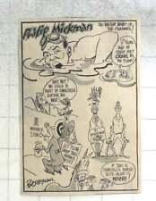1950 Berryman Cartoon Philip Mickman, Water Baby Of The Channel