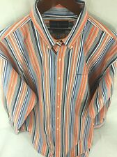 RALPH LAUREN XL Blue, Orange & White Striped Long Sleeve Button Front J-28