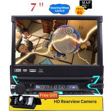"Single 1DIN 7"" Flip Out GPS Navigation Car Stereo DVD Player Bluetooth+HD Camera"