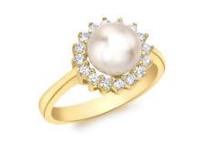 Anillos de joyería de oro amarillo de perla