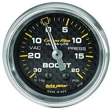 "Auto Meter 4701 Carbon Fiber 2 1/16"" Mechanical Boost / Vacuum Gauge 20 Psi"