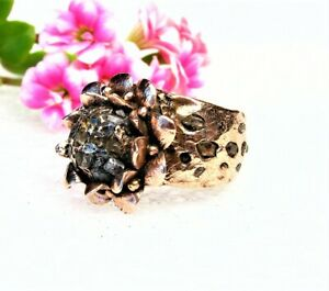 Whide Solid Copper Band Ring -Herkimer Diamond Crystal Stone-Size 10,5