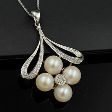 9 mm White Freshwater Pearl CZ 925 Sterling Silver Pendant Chain Necklace 04859