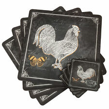 Set of 4 Placemats & Coasters Place Table Mats Farmyard Cockerel Hen Chickens