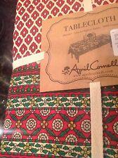 APRIL CORNELL TABLECLOTH 60 X 84 CHRISTMAS CREAM RED MEDALLION 100 % COTTON NIP