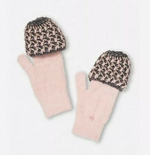 Girls Justice Girls Chunky Knit Flip Mittens Pink Nwt Winter Gloves