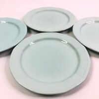 Set Of 4 Vintage Aqua Blue Green Stoneware Salad Dessert Plates