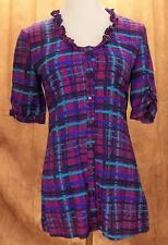 TULLE~Sz S~Multi Colored~SS~Button Front~Tie Waist~Blouse~Top