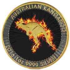 COA 2016 1 Oz Ounce Silver AUS Kangaroo Coin 999 Gold Gilded Colorized Fire