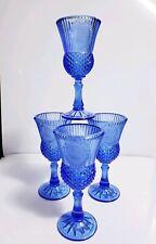 Set of 4 Vintage 1976 Cobalt Blue Fostoria Avon George Washington Cameo Goblets