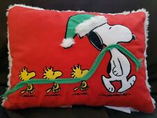 Pottery Barn Kids Holiday Snoopy Peanuts Woodstock Red Sherpa Pillow. SOLD OUT