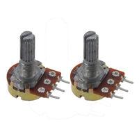 2 Pcs B10K 10K ohm Single Linear Taper Rotary Potentiometers F6