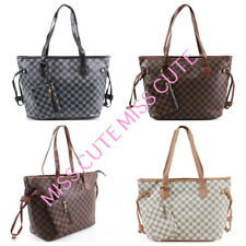 Womens Ladies Designer Checkered Tote Bag Leather Style Quality Shoulder Handbag