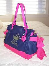 NWT Juicy Couture Coated Cotton Ms. Daydreamer Tote Bag Blue/Pink YHRUS015
